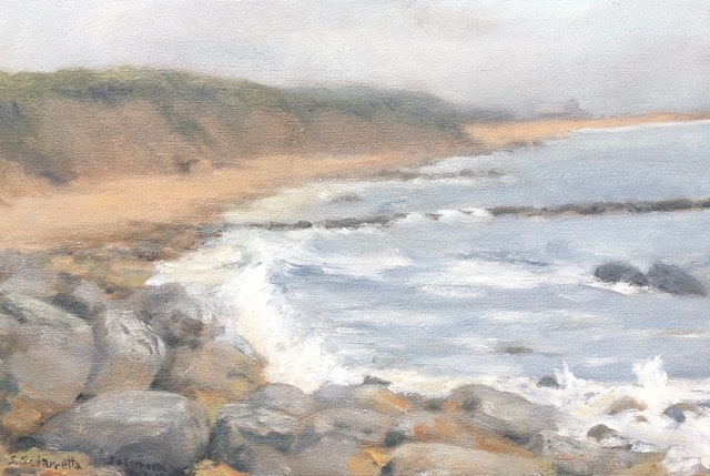 Passing Storm Crescent Beach, Block Island-oil on canvas