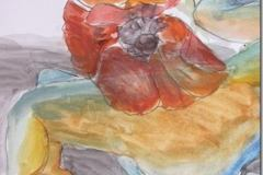 Woman and Poppy – Roslyn Fassett – pencil and watercolor on paper