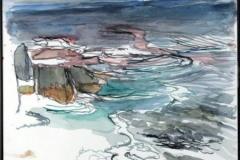 """Title: Pink Fassett Size: 12"""" x 12"""" Medium:  Watercolor Artist:  Roslyn Fassett"""
