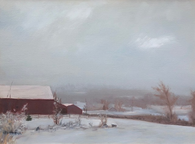 Snow on Amity Farm-oil on canvas