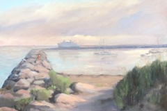 Late Ferry Block Island-oil on canvas
